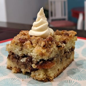 Sour Cream and Pecan Coffee Cake with Whipped Butter Snack