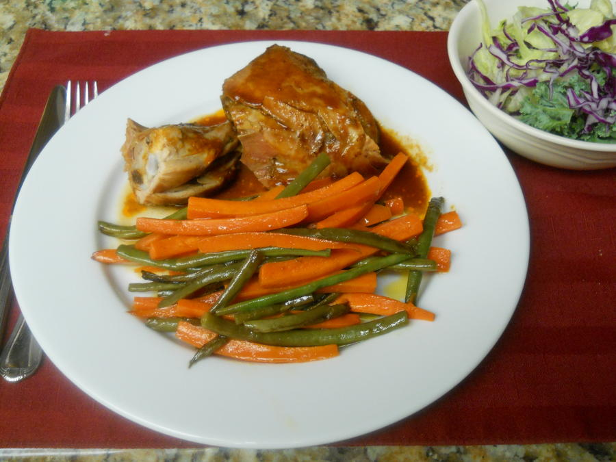 Beer Can Chicken sauteed veggies and a salad - Mon