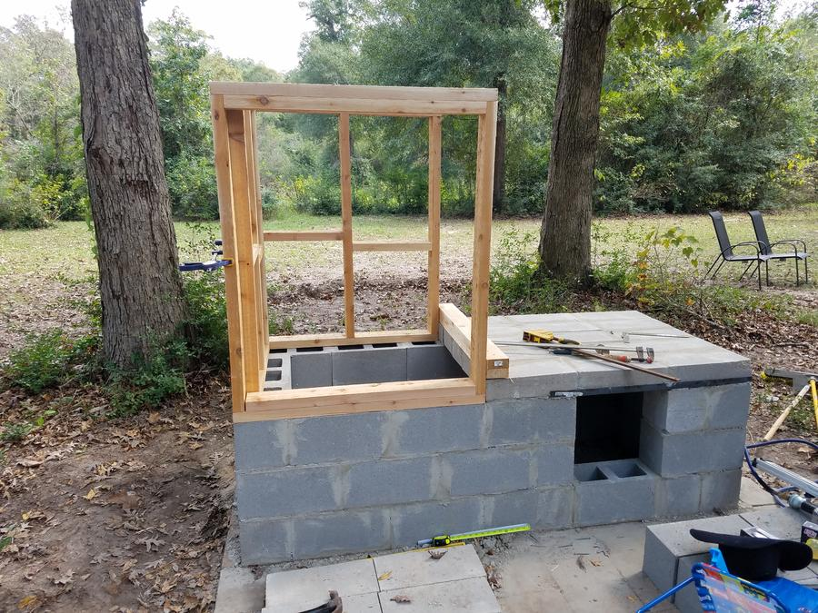 Cedar and cinder block smokehouse build | Smoking Meat ... on still making plans, open pit barbecue plans, privy plans, root cellar plans, shed plans, trailer mounted bbq plans, moonshine still plans, log cabin plans, homestead plans, windmill plans, bakery plans, barbeque plans, floor plans,