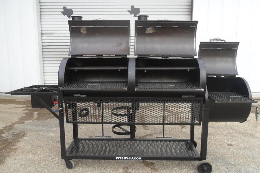 Custom offset smoker w/ attached gas grill & side burner